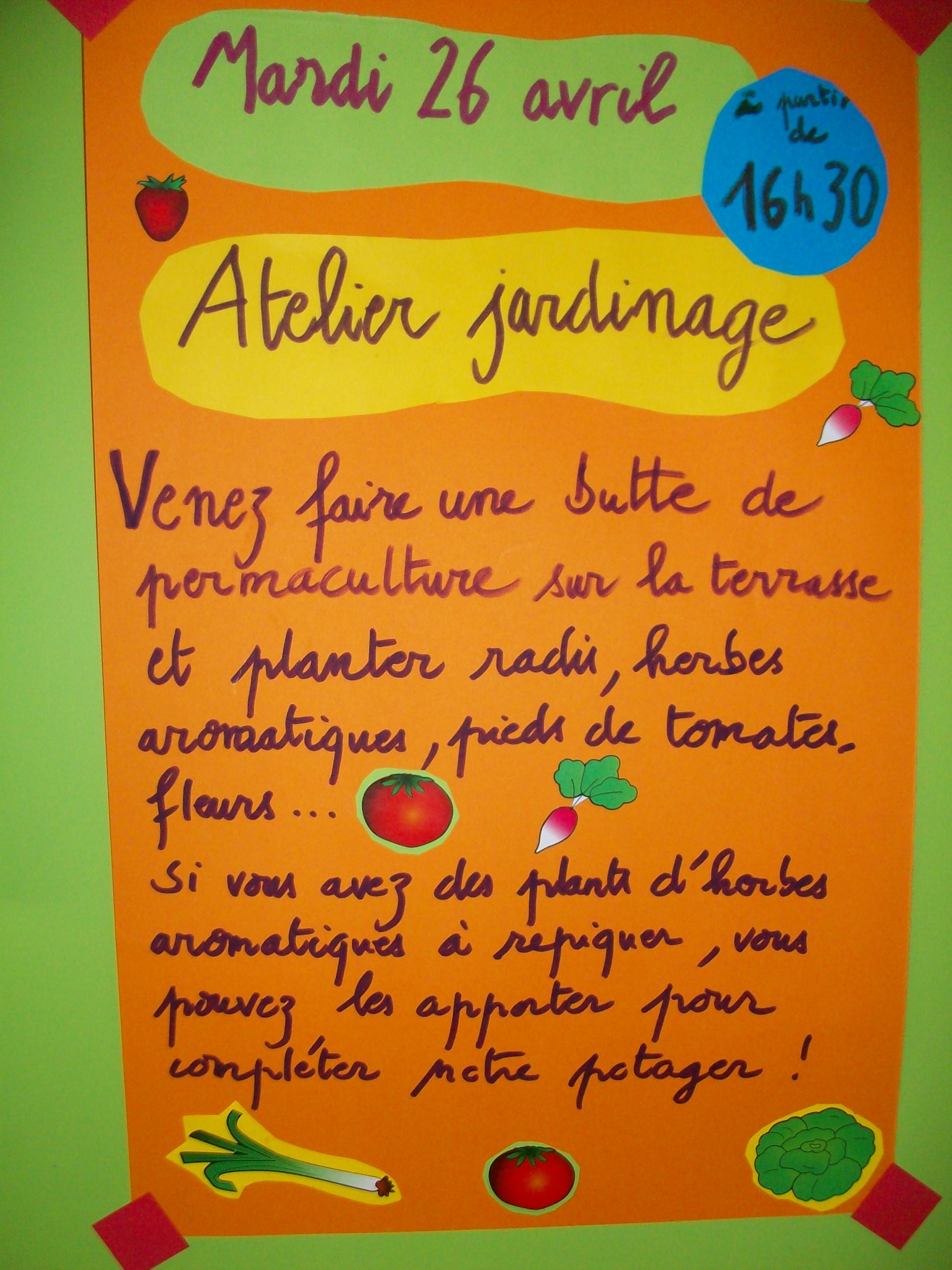 Cr che saint bernard projet jardinage la cr che vaucanson for Objectif atelier cuisine en creche