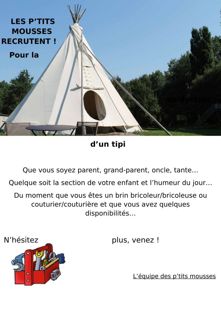 cr che saint bernard les p 39 tits mousses recrutent aidez les a construire un tipi. Black Bedroom Furniture Sets. Home Design Ideas